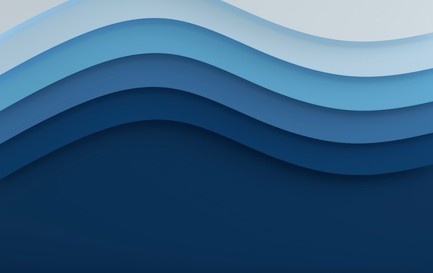 Blauwe zee elegante papier kunst cartoon abstracte golven