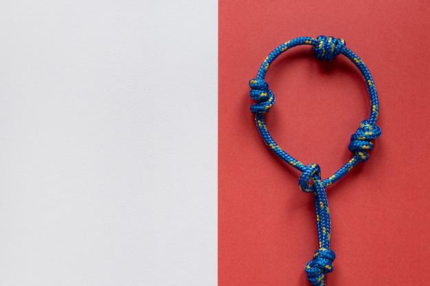 Blauwe zeeman touw knoop kopie ruimte