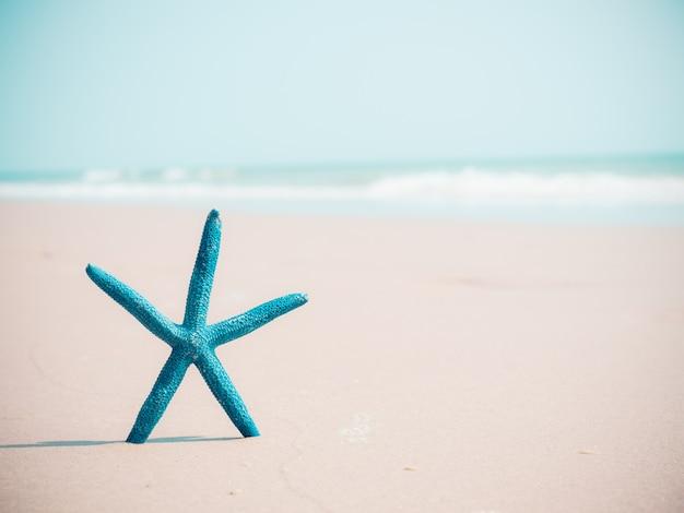 Blauwe zeester op zand en overzeese achtergrond met exemplaarruimte.