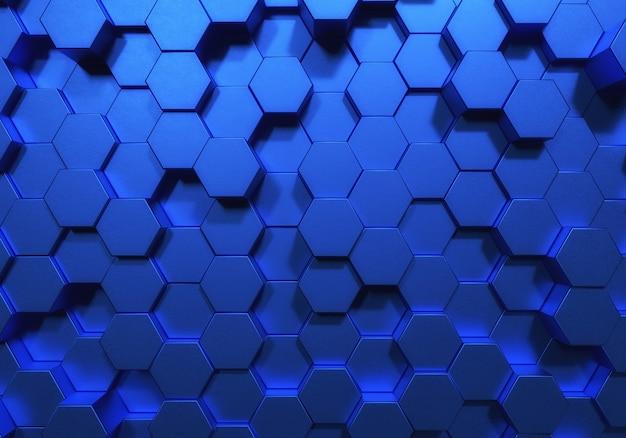 Blauwe zeshoek honingraat vormen matte oppervlakteachtergrond
