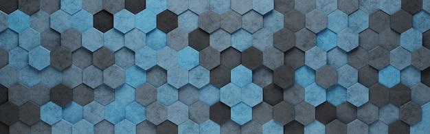 Blauwe zeshoek tegels 3d-patroon achtergrond