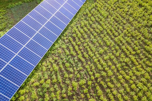 Blauwe zonnepanelen op groen gras.