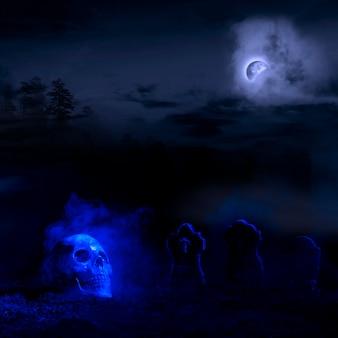 Blauwgradengrafen en schedel op grond
