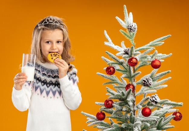 Blij meisje dat zich dichtbij kerstboom bevindt die tiara met slinger op hals draagt die glas melk houdt die koekjes probeert die op oranje achtergrond worden geïsoleerd
