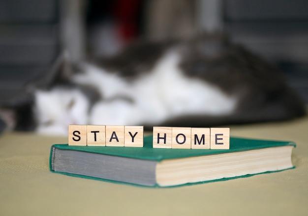 Blijf thuis, blijf veilig concept. quarantaine tegen coronavirus covid-19 in de wereld met een oproep om gezellig thuis te blijven en te werken. huiswerk en activiteiten voor het hele gezin