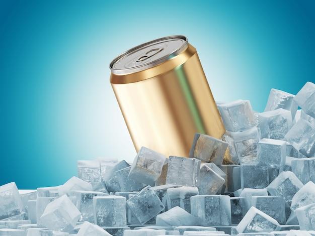 Blikje drinken in ijsblokjes
