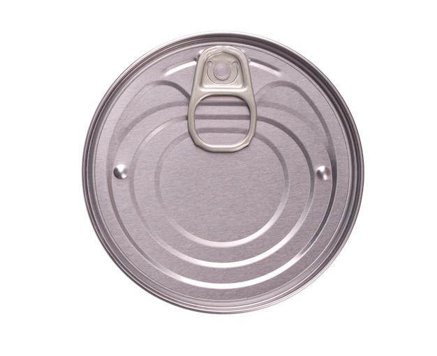 Blikje geïsoleerd metalen blikken voor ingeblikte en ingelegde producten. bovenaanzicht.