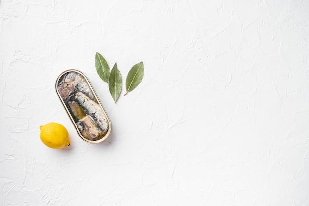 Blikje zeevruchten sardines vis set, op witte stenen tafel achtergrond, bovenaanzicht plat lag, met kopieerruimte voor tekst