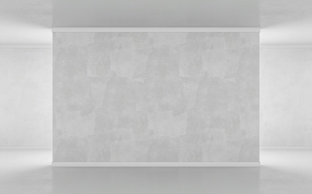 Blinde muur in het galeriemodel. 3d-rendering
