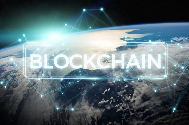 Blockchain op het 3d teruggeven van de aarde