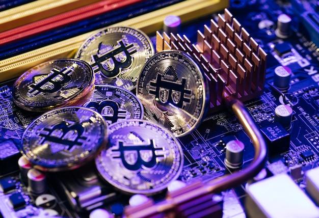 Blockchain-technologie, bitcoin-mijnbouwconcept.