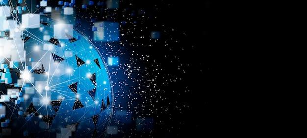 Blockchain-technologie en wereldwijde netwerkverbinding