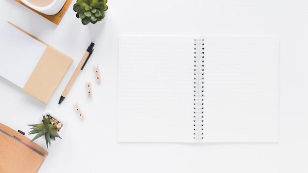 Blocnote dichtbij kantoorbehoeften en bloempotten op witte lijst