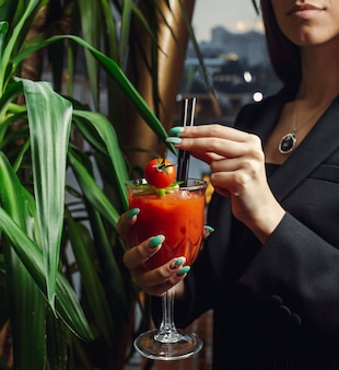 Bloed mary cocktail met tomaat en ijs