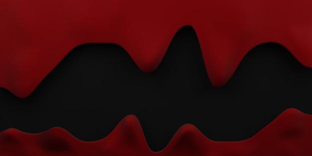 Bloeddruppel grens halloween bloedstroom achtergrond rode vloeistof zwarte achtergrond 3d illustratie