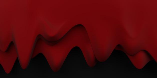 Bloeddruppel grens halloween bloedstroom achtergrond rode vloeistof zwarte achtergrond 3d illustratie Premium Foto
