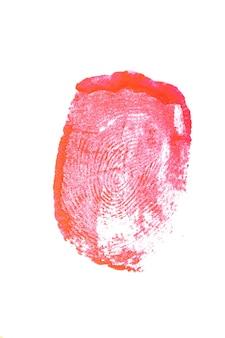 Bloedige vingerafdruk geïsoleerd op een witte achtergrond