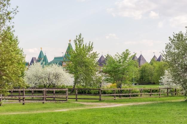 Bloeiende kersen- en appelboomgaarden op de heuvels in het stadspark in het voorjaar in mei.