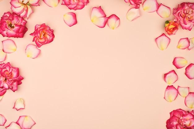 Bloeiende knoppen van roze rozen op beige