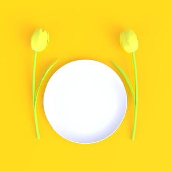 Bloem met lege witte schotel abstracte minimale gele achtergrond, voedselconcept, het 3d teruggeven