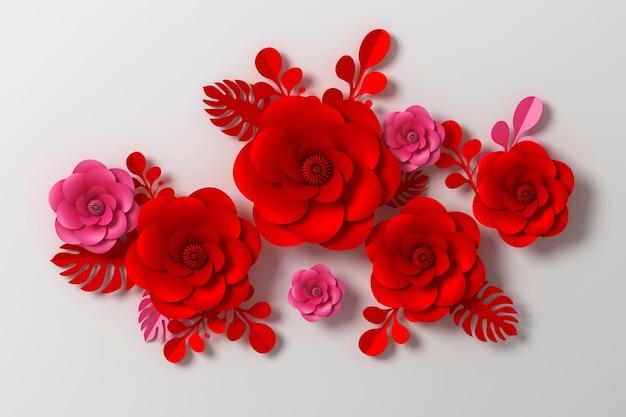 Bloem papier stijl, kleurrijke roos, papier ambachtelijke bloemen, 3d-rendering, met uitknippad.