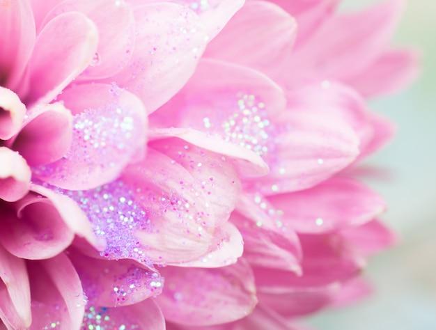 Bloemblaadjes van bloemen bedekt met sprankelende dauw