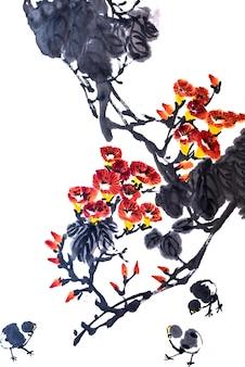 Bloemen achtergrond kunst inkt schoonheid element