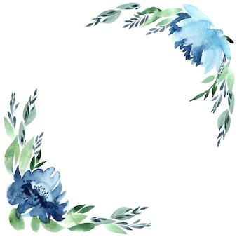 Bloemen aquarel frame, geïsoleerd op wit.