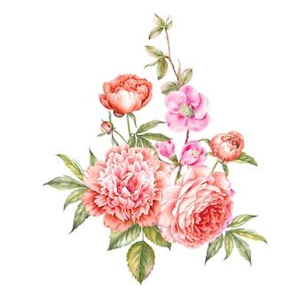 Bloemen aquarel illustratie.