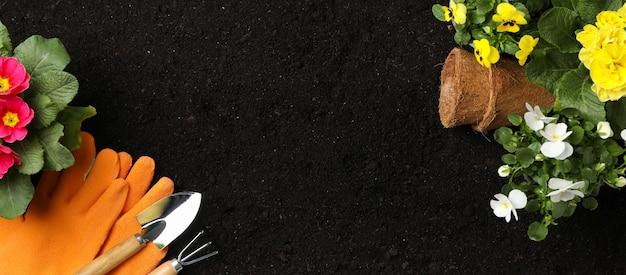 Bloemen en tuingereedschap op grond achtergrond, ruimte voor tekst