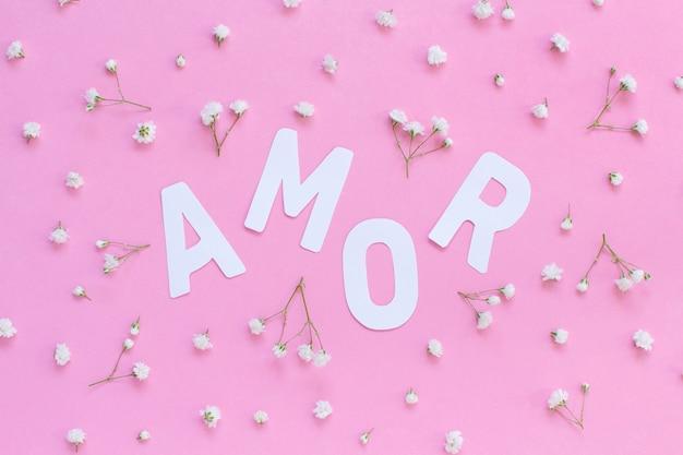 Bloemen en woord amor op een lichtroze bovenaanzicht als achtergrond