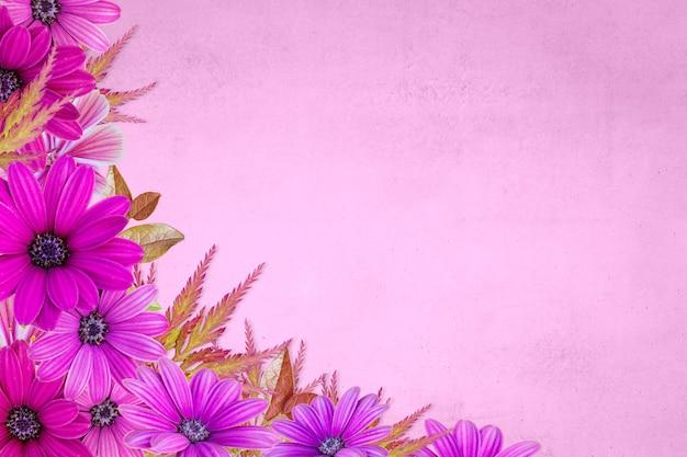 Bloemen geassorteerde roze bloemenrand op roze achtergrond. bloem achtergrond lente