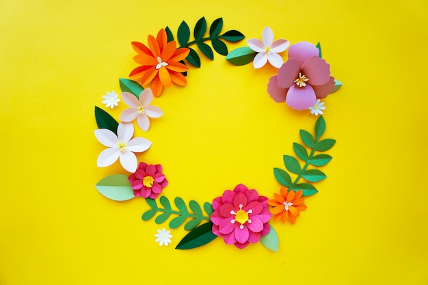 Bloemen handgemaakt papercraft kunst cirkel