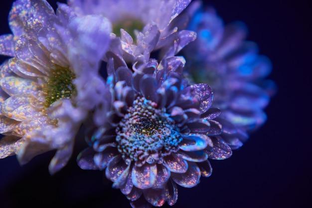 Bloemen in de verfdruppels gloeien in het ultraviolette licht. natuurlijke schoonheidscosmetica