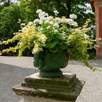 Bloemen in een decoratieve urn op chinees paviljoen van drottningholm palace, drottningholm, stockholm, zweden