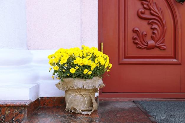 Bloemen in pot op houten deur