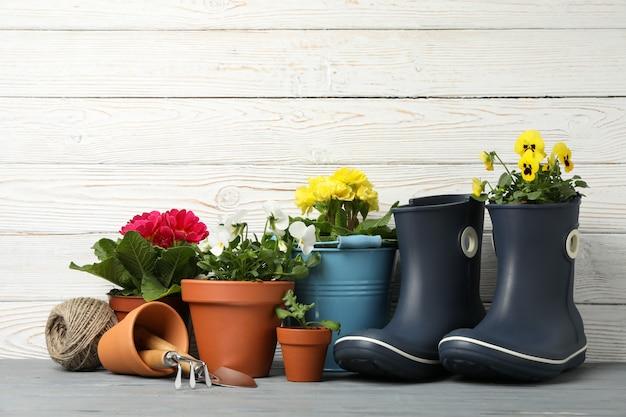 Bloemen in potten en tuingereedschap op houten, ruimte voor tekst