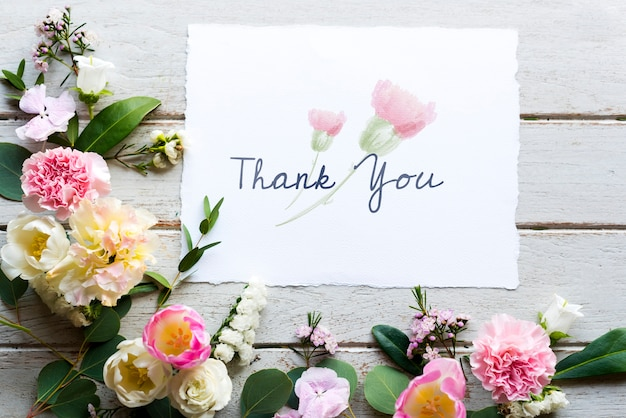 Bloemen met dank u wenskaart