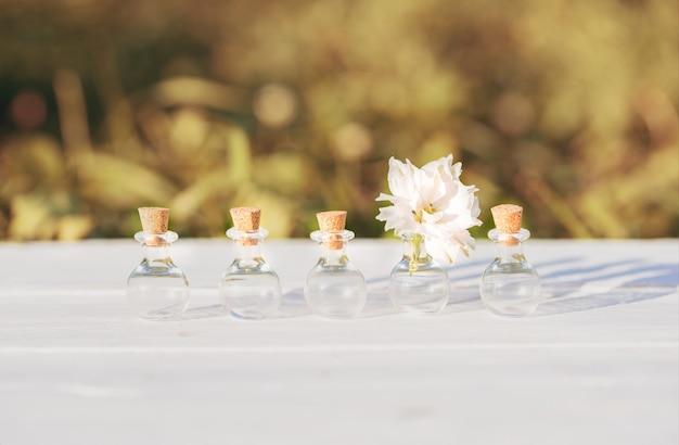 Bloemen op houten achtergrond. mooie bloemen van gelichrysum. outdors in dorp, zonsondergang in de avond, zonlicht. het concept van individualiteit is out of the box, niet zoals iedereen.