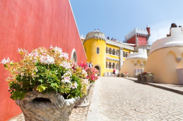 Bloemen op straat bij geel kasteel