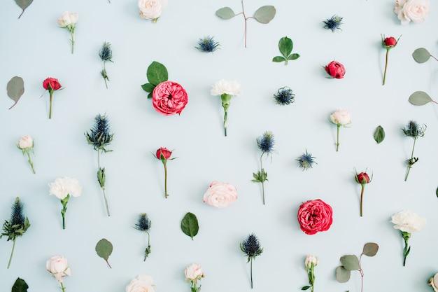 Bloemen patroon textuur gemaakt van beige en rode rozen, eucalyptusblad op bleke pastelblauw