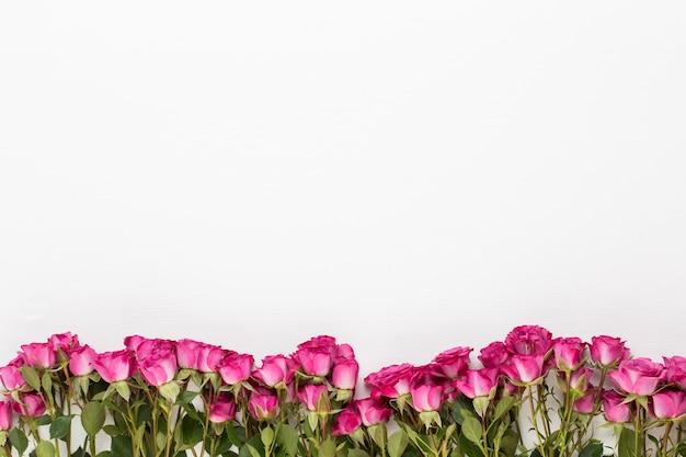 Bloemen samenstelling. frame gemaakt van rode roos op witte houten achtergrond. plat leggen, bovenaanzicht, kopie ruimte.
