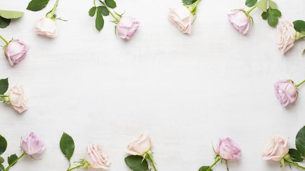 Bloemen samenstelling. frame gemaakt van roze roos op grijze achtergrond. plat lag, bovenaanzicht, kopie ruimte.