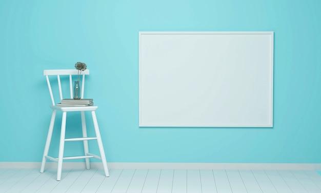 Bloemen worden in een vaas gezet, op een witte houten stoel geplaatst met een groot wit frame in de blauwe woonkamer. 3d render.