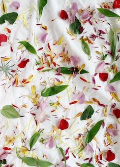 Bloemenbloemblaadjes en bladeren op een tafelkleed