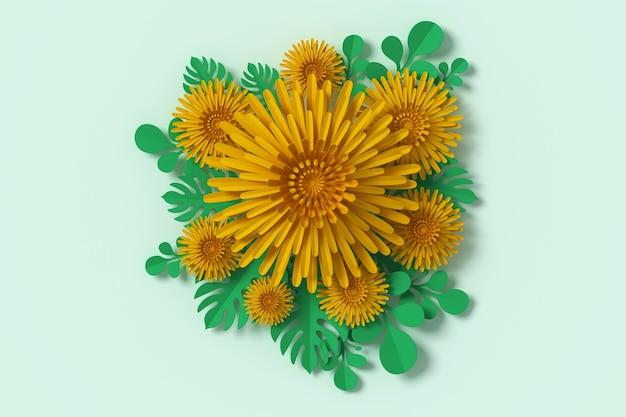 Bloemendocument stijl, document ambacht bloemen, het 3d teruggeven, met het knippen van weg.