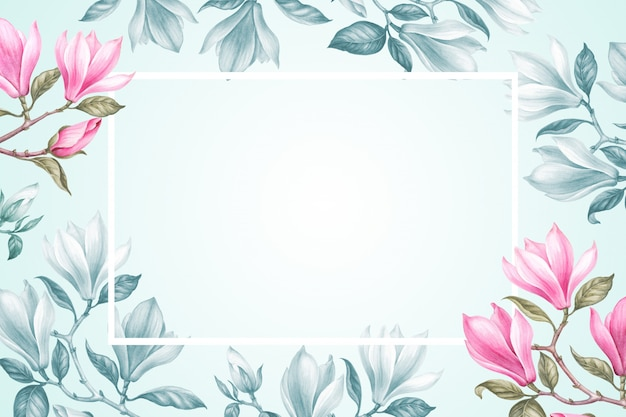 Bloemenkaderachtergrond met boeket van magnolia