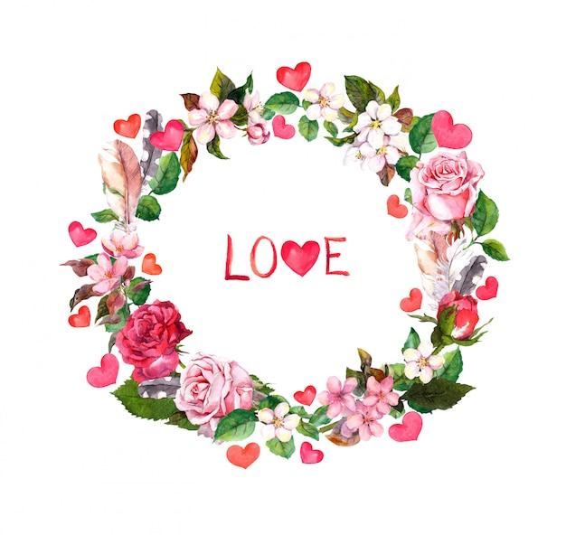 Bloemenkroon - rozenbloemen, veren, harten en liefdetekst. aquarel ronde rand voor valentijnsdag, bruiloft