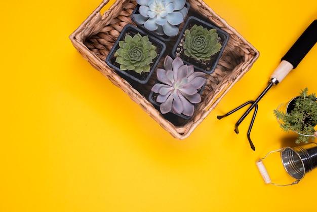 Bloemenmand met metalen tuinvork