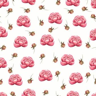 Bloemenontwerp. waterverfpatroon van roze pioenenbloemen en bladeren